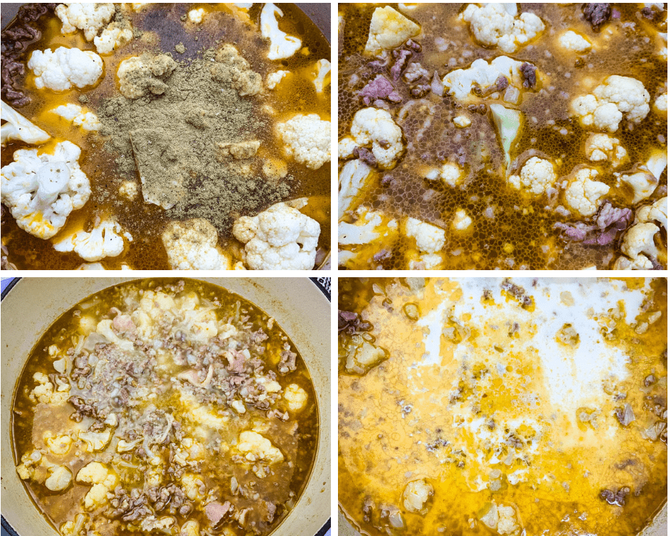 collage photo showing the process of cooking keto low carb zuppa toscana soup in a Dutch oven