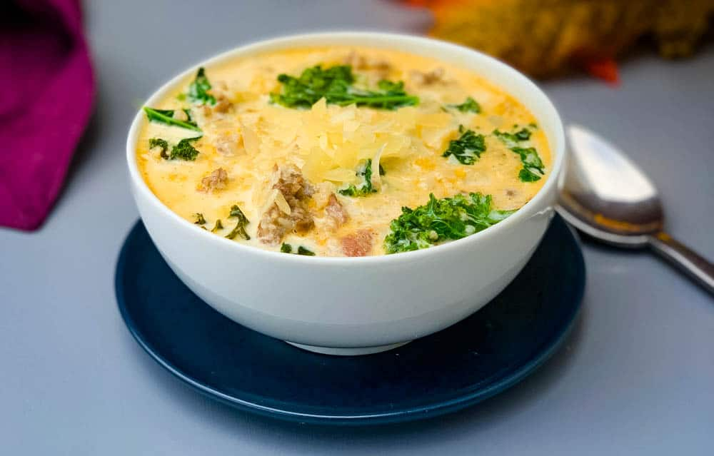 keto low carb zuppa toscana soup in a white bowl