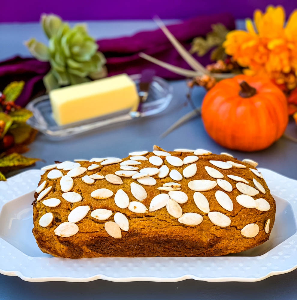 keto low carb pumpkin bread on a white plate