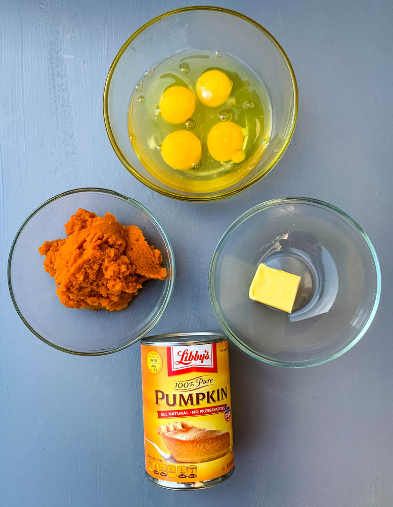 4 eggs, pureed pumpkin, and butter in separate bowls