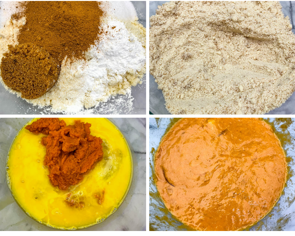 collage photo of flour and pumpkin puree in a glass mixing bowl