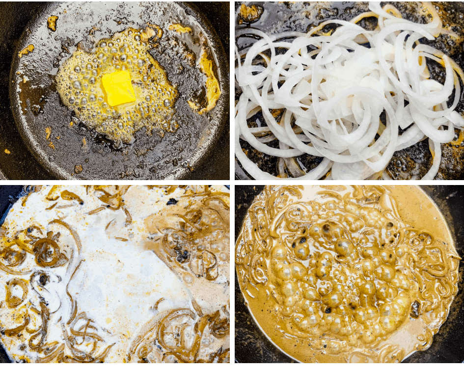 collage photo of butter melted in a cast iron skillet with onions and gravy
