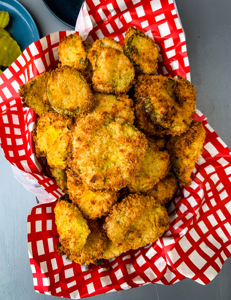 air fryer crunchy fried pickles in a basket