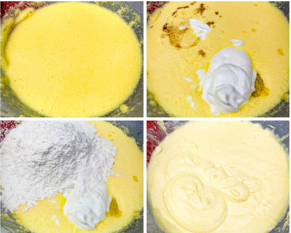 collage photo of 4 photos of air fryer cake batter