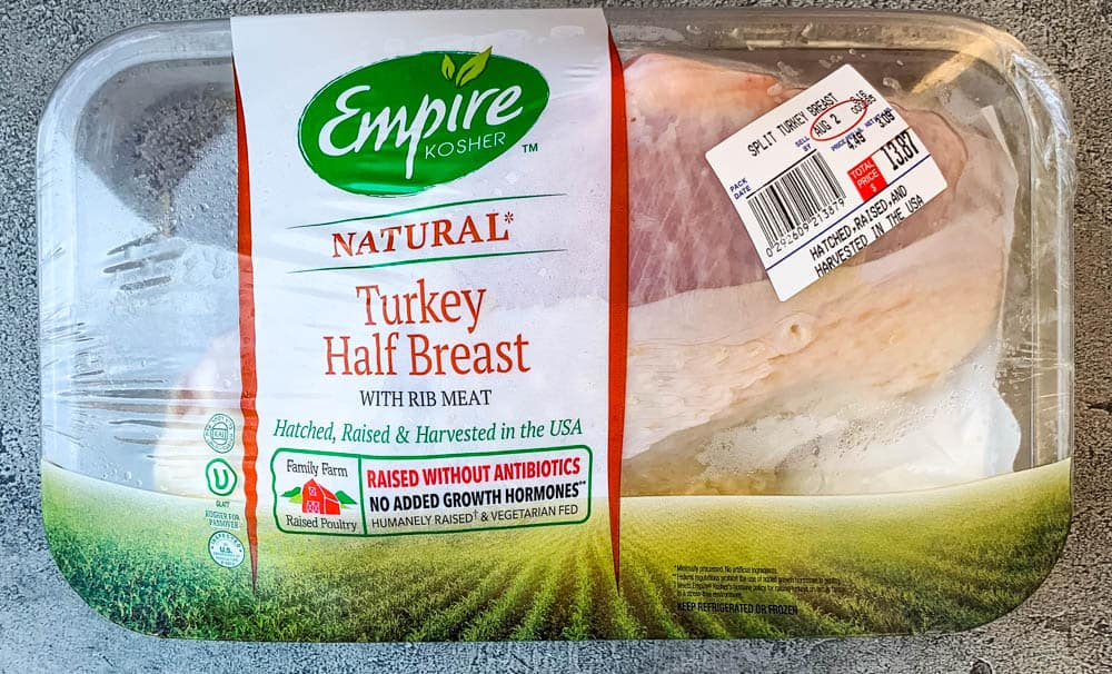 raw natural turkey breast in a package