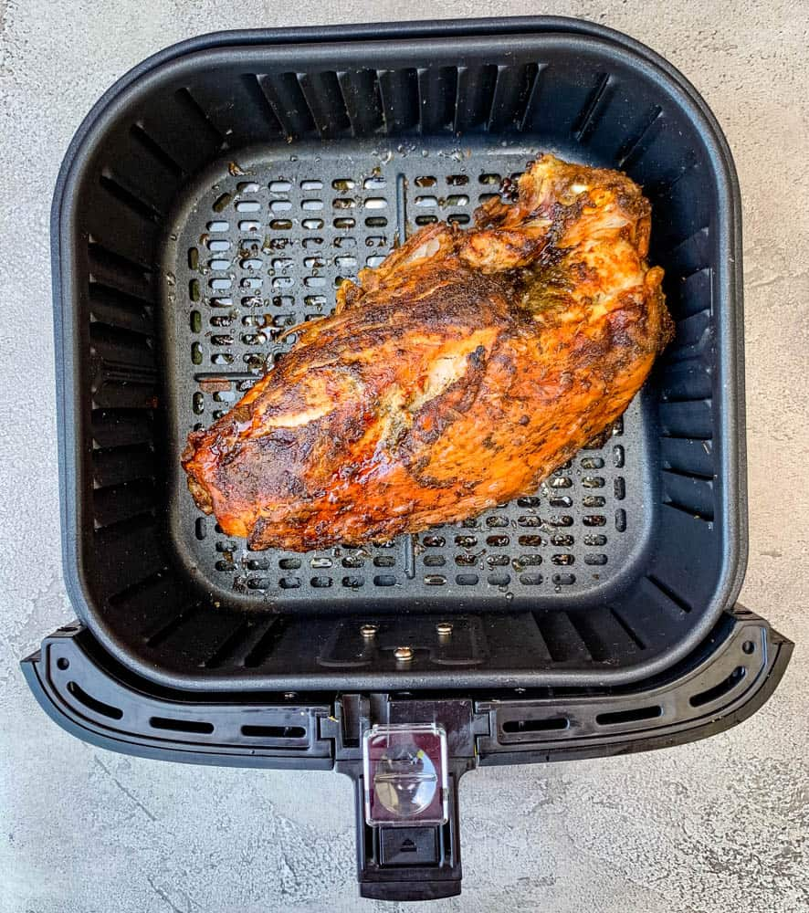 cooked roasted turkey breast in an air fryer