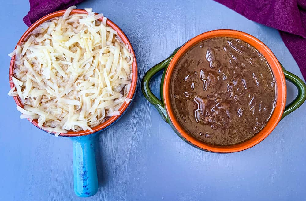 Instant Pot French onion soup in a bowl with cheese