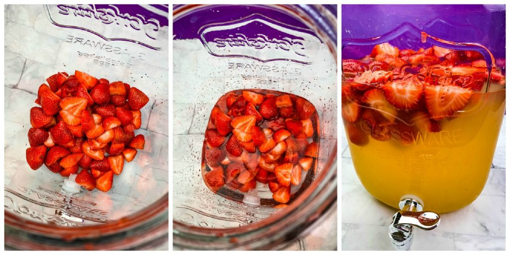 strawberries and alcohol in a glass container