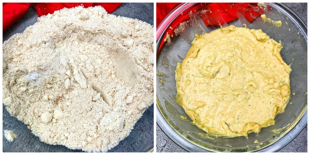 dry and wet batter for keto zucchini bread in glass bowls