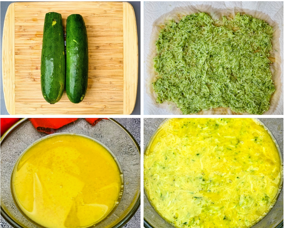 collage photo with 4 photos of fresh zucchini and wet batter