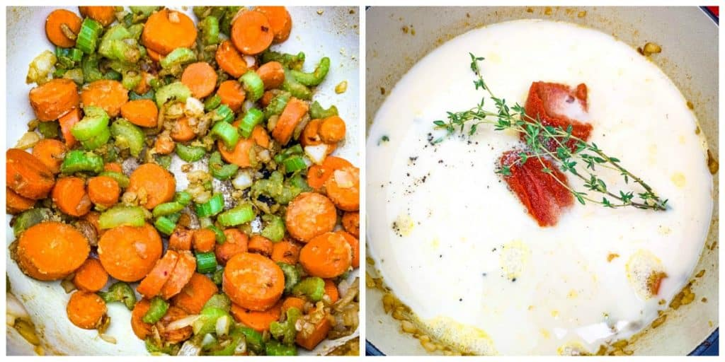 a collage photo of 2 photos with sauteed carrots in one photo and heavy cream with lobster stock in a pot in the other photo