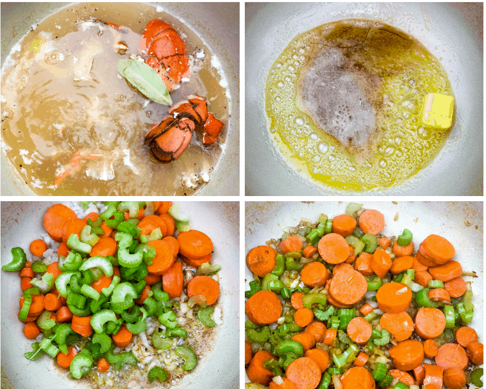 collage photo of 4 photos with lobster stock and sauteed veggies