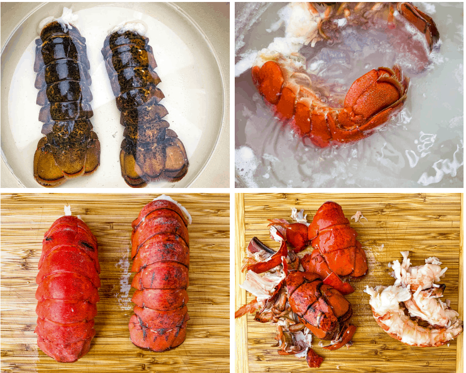 collage photo of 4 photos with boiled lobsters and shelled lobsters with lobster meat