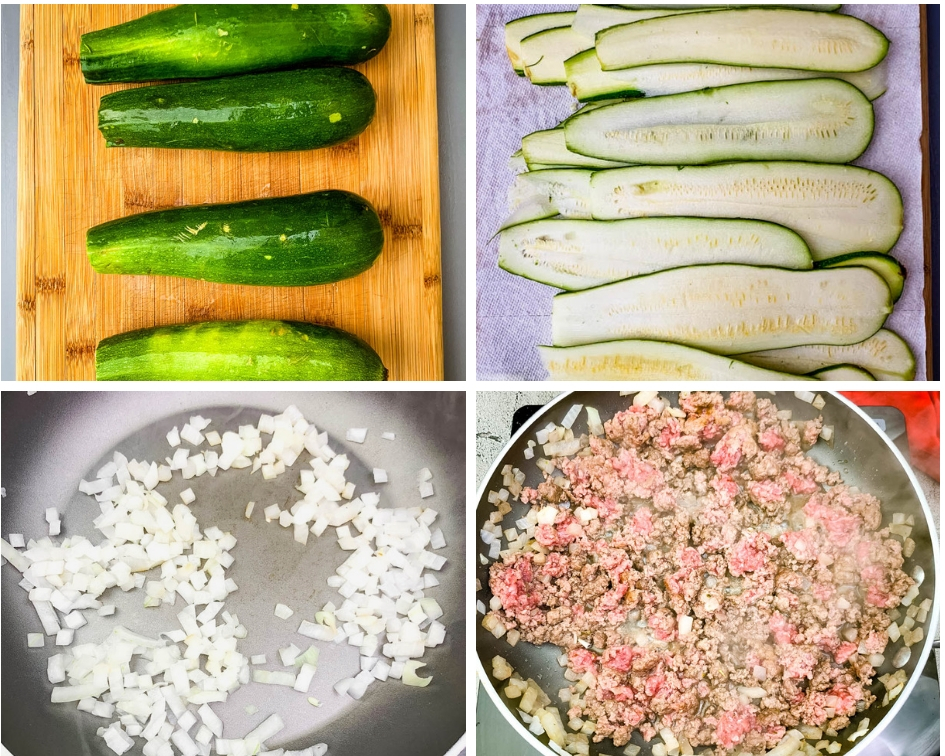 collage photos of raw zucchini, sliced zucchini, and the filling for zucchini lasagna rolls