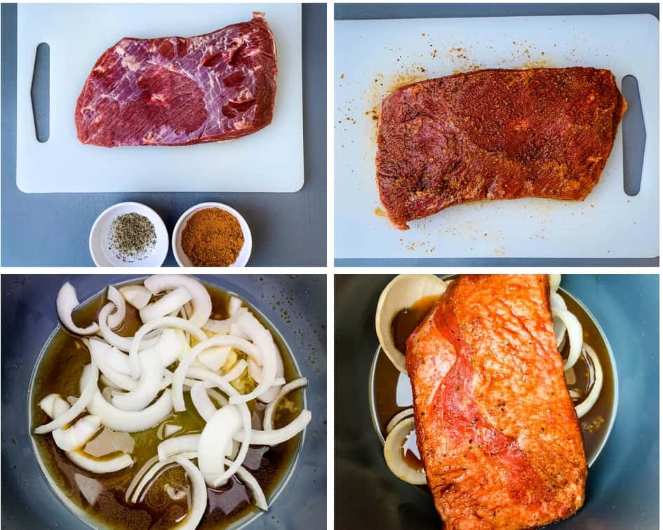 collage photo of 4 photos of raw brisket in an Instant Pot