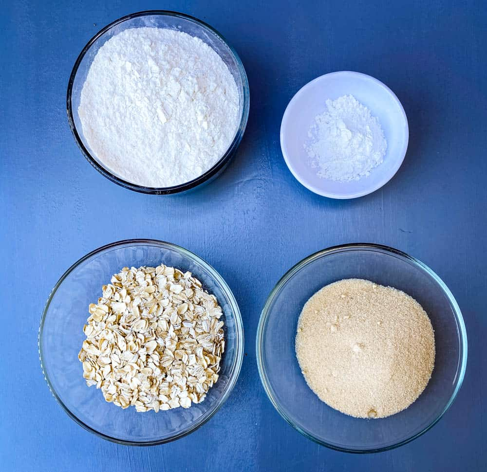 oatmeal, flour, sweetener, and baking powder for air fryer blueberry muffins