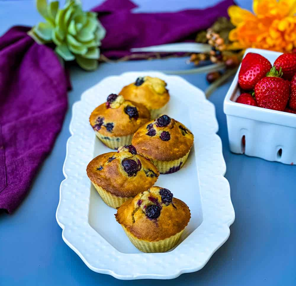 air fryer blueberry muffins on a white plate