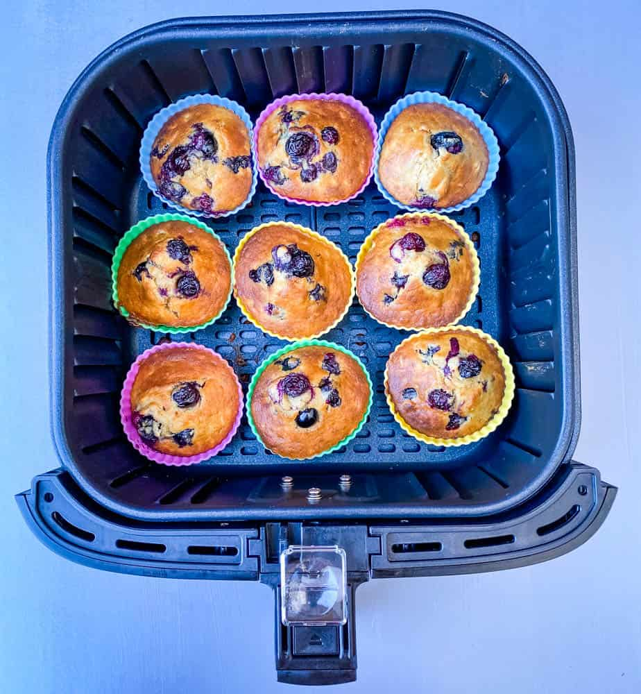 blueberry muffins in an air fryer