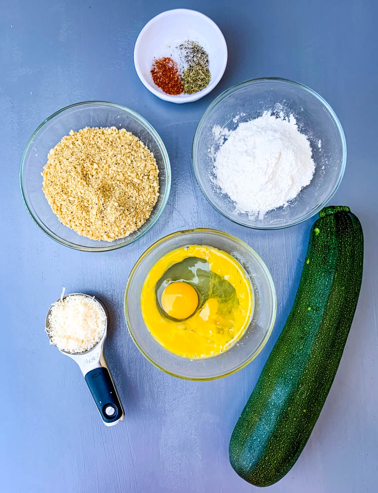breadcrumbs, flour, cheese, eggs, seasoning for air fryer zucchini chips