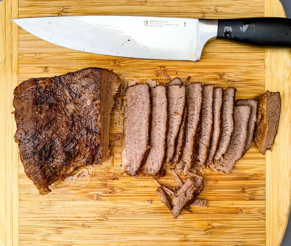 Instant Pot Brisket sliced on a cutting board