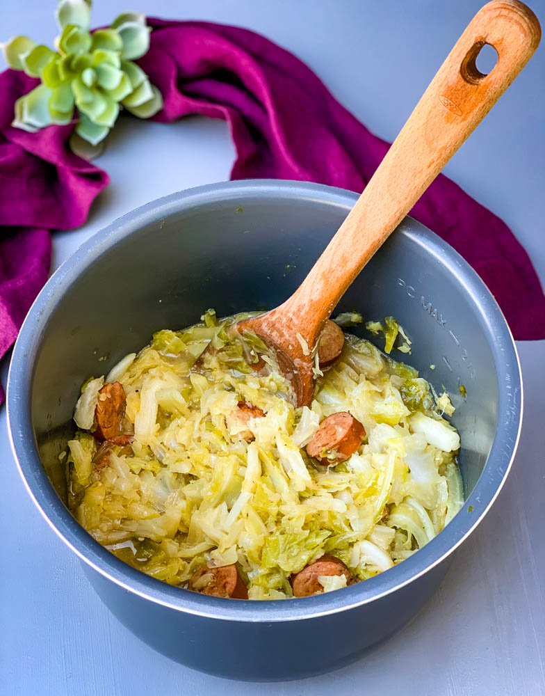 instant pot cabbage and sausage in an Instant Pot