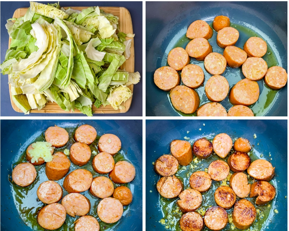 collage photo of 4 photos of cabbage sliced on a cutting board and slice sausage in an Instant Pot