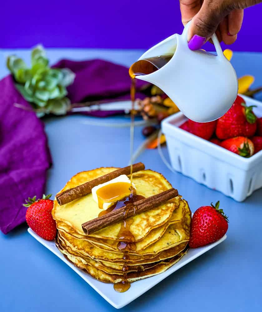 keto low carb pancakes with maple syrup drizzle