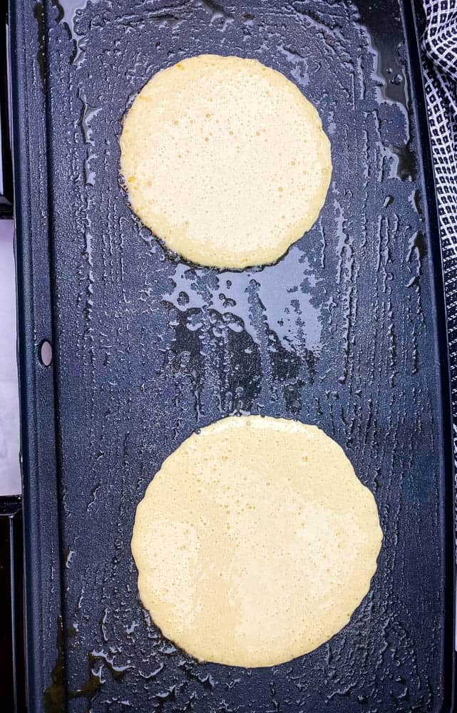 keto low carb pancake mix batter on a griddle