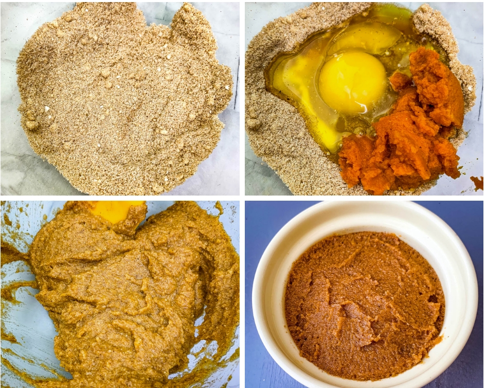 dry and wet ingredients for keto pumpkin mug cake