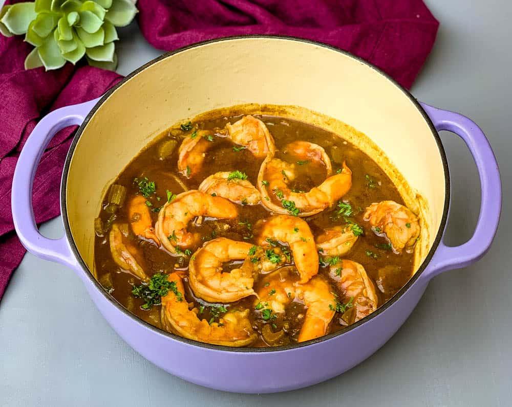 shrimp etouffee in a Dutch oven