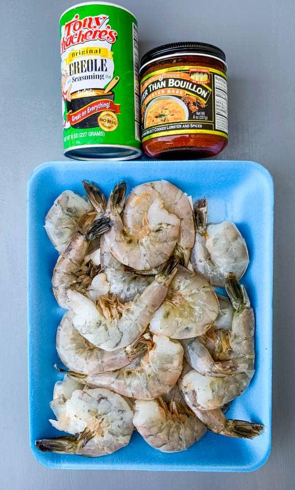 raw shelled shrimp, Creole seasoning, and Better than Bouillon
