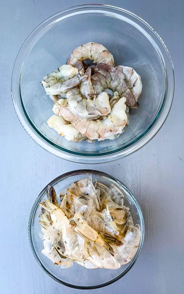 shelled shrimp in a glass bowl for shrimp etouffee
