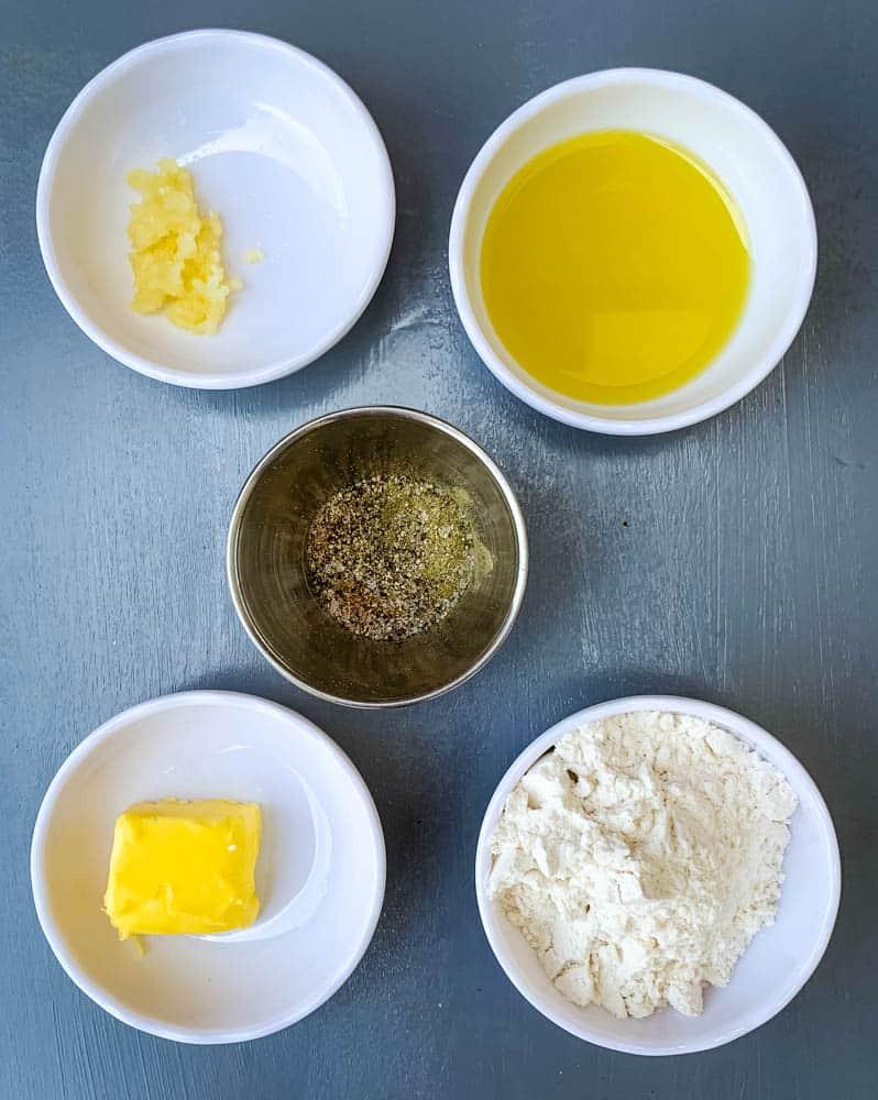 butter, flour, and seasonings for shrimp etouffee