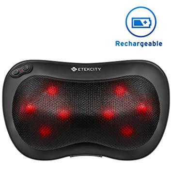 Etekcity Rechargeable Back Neck Massager with Heat Function & Adjustable Intensity, Deep Tissue Shiatsu Massage Pillow for Muscles Pain Relief Relaxation, Ideal Gifts & 2-Year Warranty