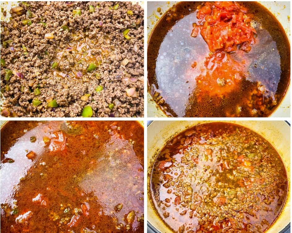 collage photo of ground beef and beef broth in a pot for keto low carb taco soup