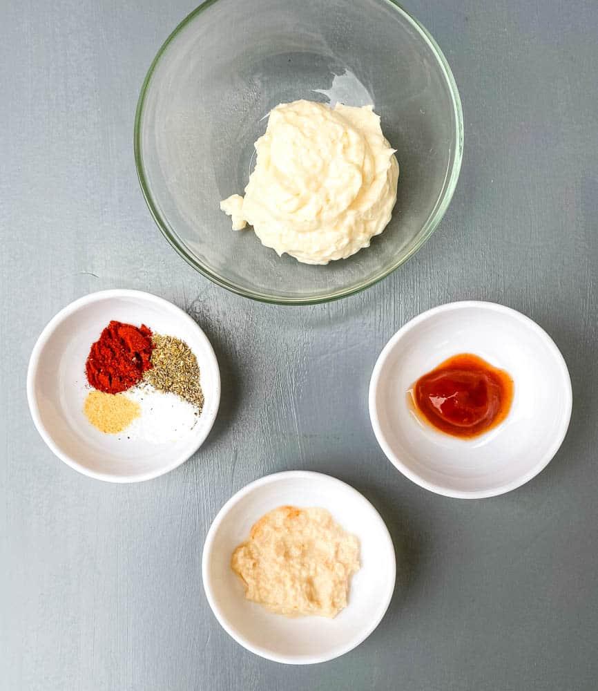 mayo, ketchup, horseradish, and seasoning for air fryer blooming onion dipping sauce