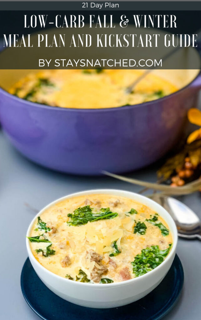 """text box """"low-carb fall & winter meal plan and kickstart guide"""""""