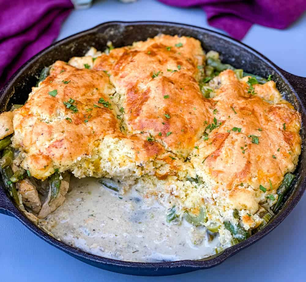 keto low carb chicken pot pie in a cast iron skillet