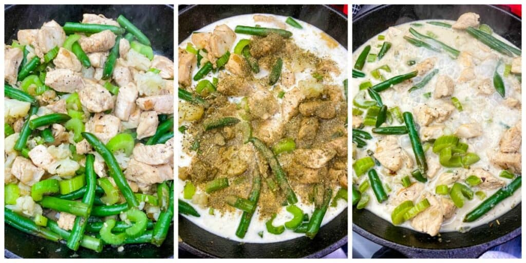 keto low carb chicken pot filling cooking in a cast iron skillet