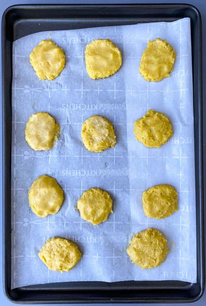 keto low carb biscuit dough on parchment paper