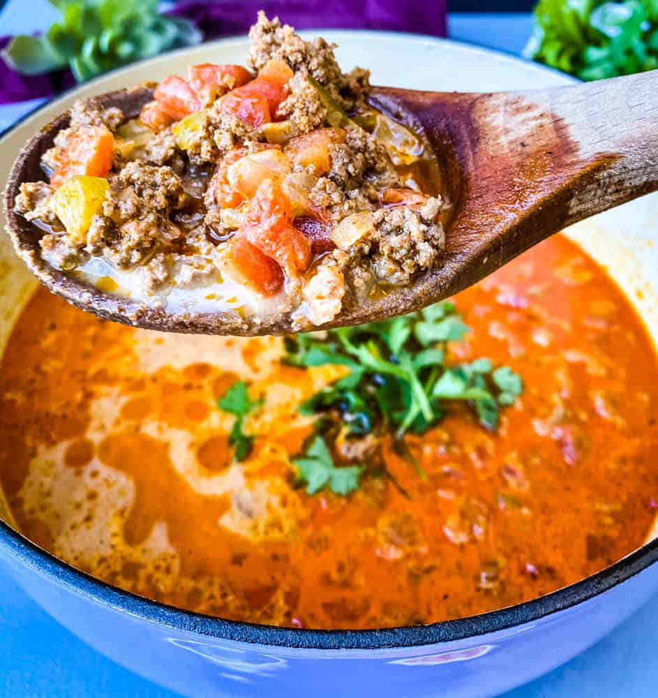 a wooden spoon full of keto low carb taco soup
