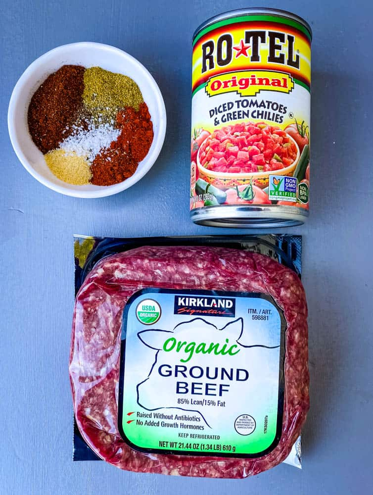 ground beef, rotel, and homemade taco seasoning for keto low carb taco soup
