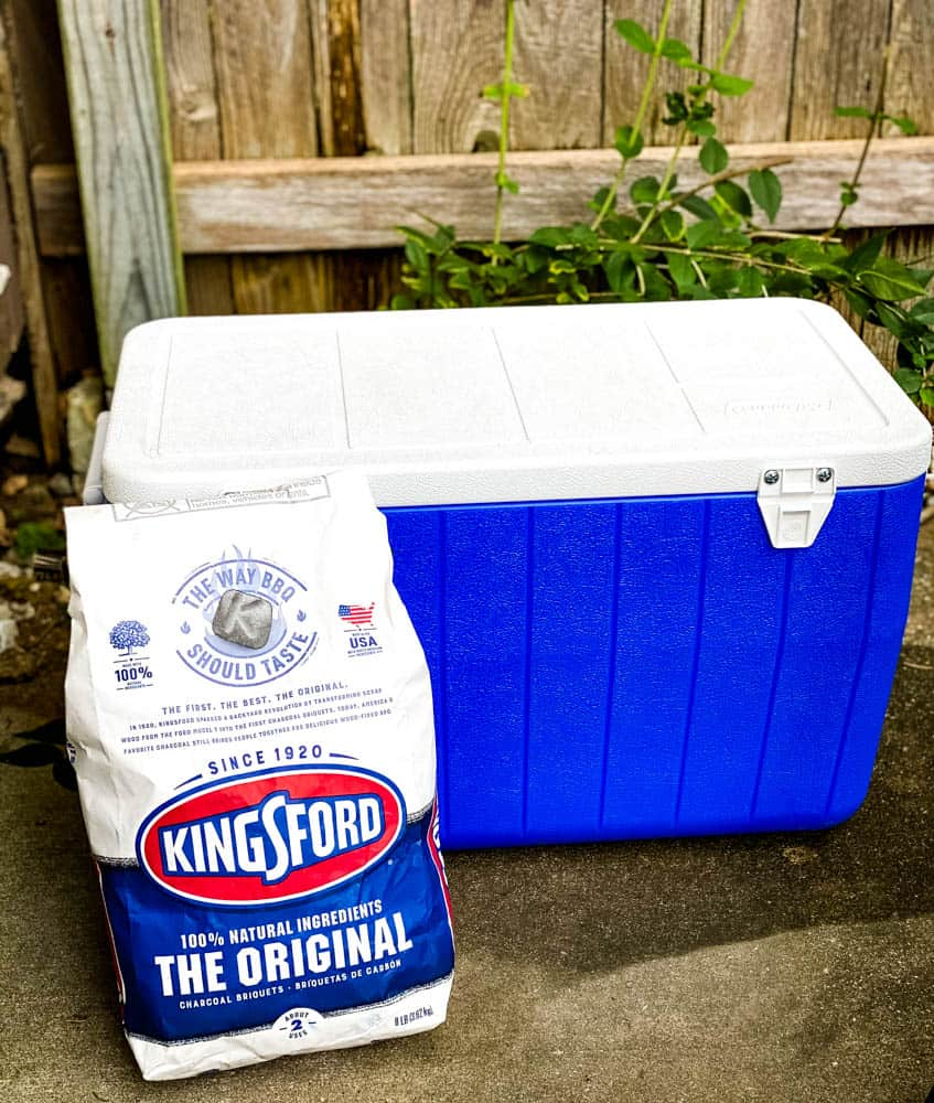 kingsford charcoal in a package with a cooler