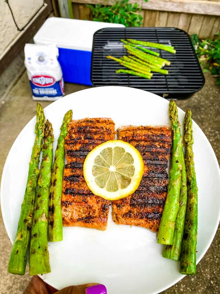 keto bbq grilled salmon and asparagus on a white plate