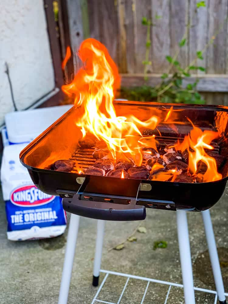 Kingsford charcoal coals burning in a grill