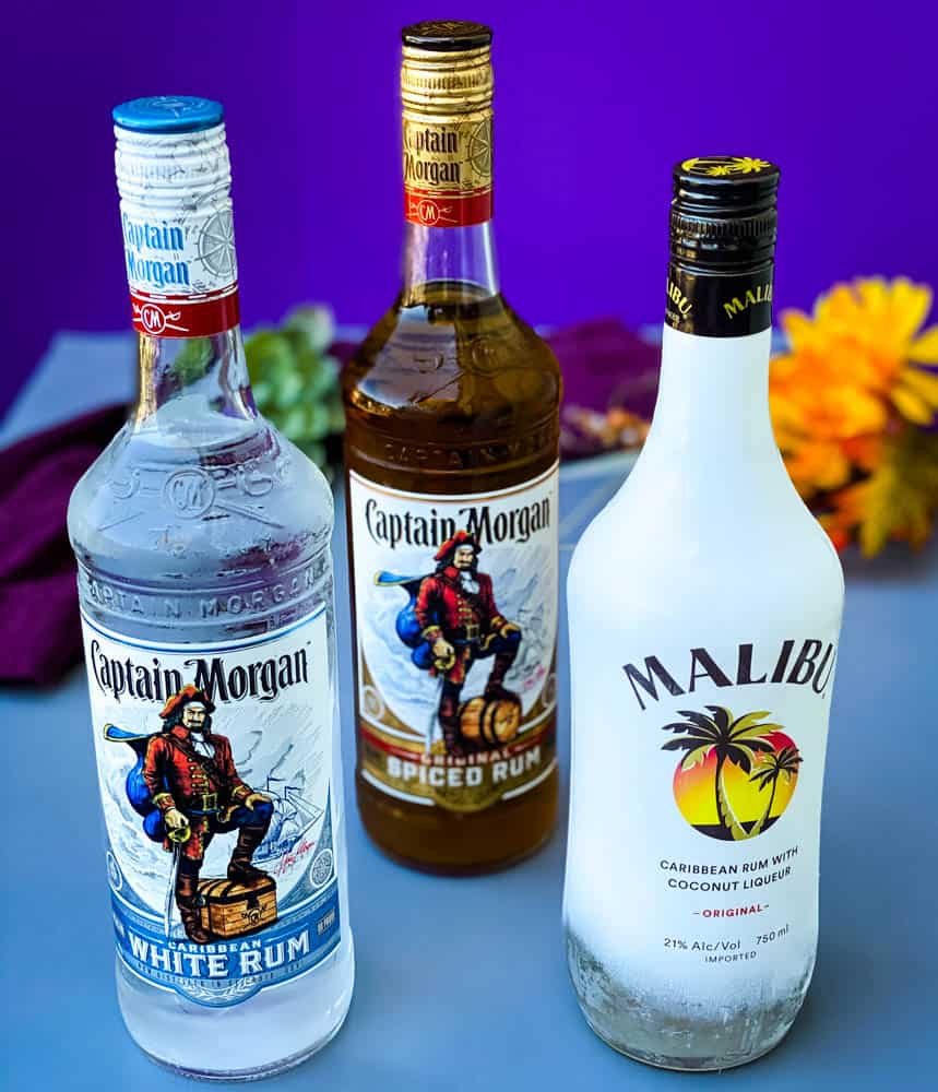 Malibu and Captain Morgan Rum for Easy Rum Punch Recipe