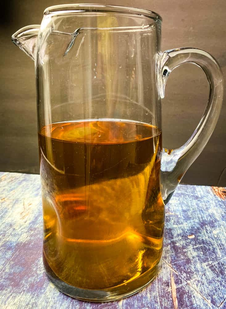 White Rum and Dark Rum in a glass pitcher