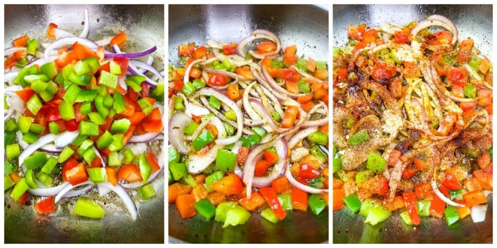 collage photo of 3 process shot photos of onions, red and green peppers sauteed in a pan for southern fried cabbage