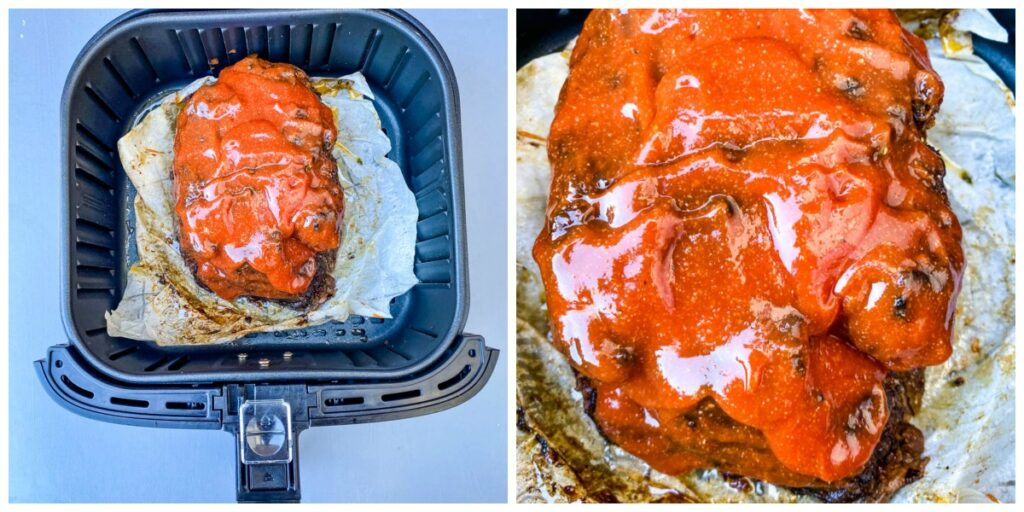 meatloaf in an air fryer with glaze