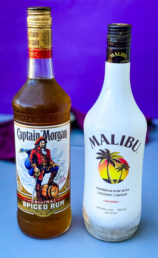 Captain Morgan and Malibu rum for bahama mama cocktails